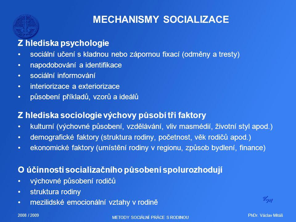 PhDr. Václav Mitáš2008 / 2009 METODY SOCIÁLNÍ PRÁCE S RODINOU MECHANISMY SOCIALIZACE Z hlediska psychologie sociální učení s kladnou nebo zápornou fix