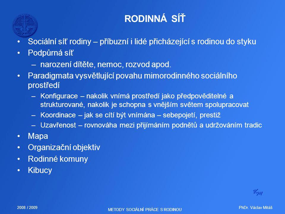 PhDr. Václav Mitáš2008 / 2009 METODY SOCIÁLNÍ PRÁCE S RODINOU RODINNÁ SÍŤ Sociální síť rodiny – příbuzní i lidé přicházející s rodinou do styku Podpůr