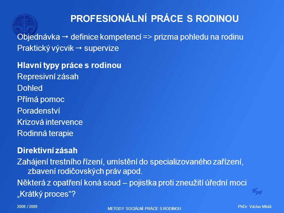 PhDr. Václav Mitáš2008 / 2009 METODY SOCIÁLNÍ PRÁCE S RODINOU PROFESIONÁLNÍ PRÁCE S RODINOU Objednávka  definice kompetencí => prizma pohledu na rodi