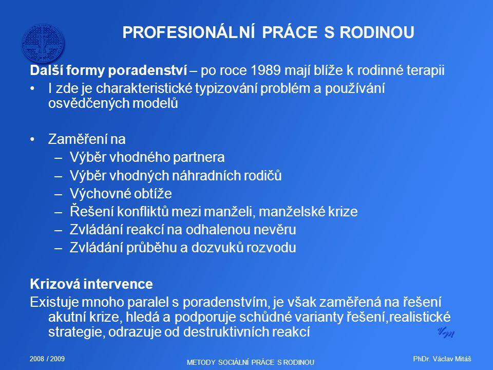 PhDr. Václav Mitáš2008 / 2009 METODY SOCIÁLNÍ PRÁCE S RODINOU PROFESIONÁLNÍ PRÁCE S RODINOU Další formy poradenství – po roce 1989 mají blíže k rodinn