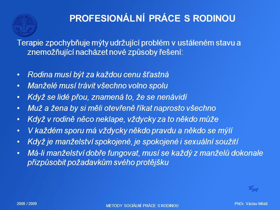 PhDr. Václav Mitáš2008 / 2009 METODY SOCIÁLNÍ PRÁCE S RODINOU PROFESIONÁLNÍ PRÁCE S RODINOU Terapie zpochybňuje mýty udržující problém v ustáleném sta