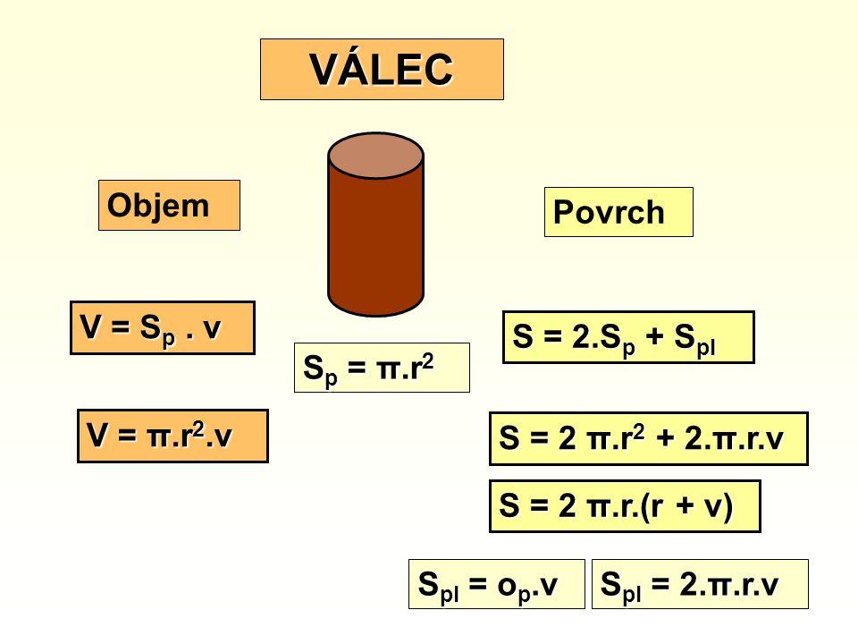 S = 2.S p + S pl S pl = o p.v V = S p. v V = π.r 2.v S = 2 π.r 2 + π.r.v S = 2 π.r 2 + 2.π.r.v S pl = π.r.v S pl = 2.π.r.v S = 2 π.r.(r + v) S p = π.r