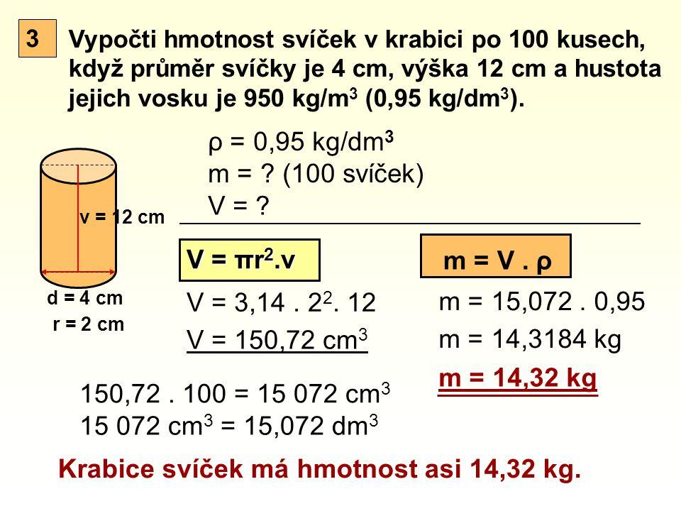Vypočti hmotnost svíček v krabici po 100 kusech, když průměr svíčky je 4 cm, výška 12 cm a hustota jejich vosku je 950 kg/m 3 (0,95 kg/dm 3 ). d = 4 c