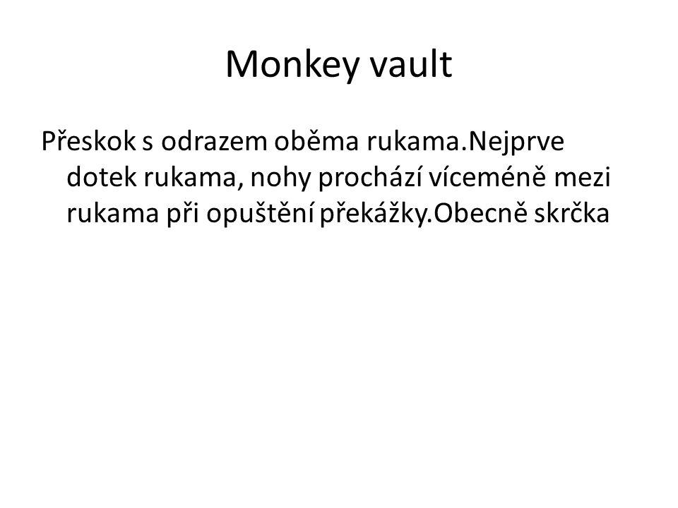 Monkey vault Přeskok s odrazem oběma rukama.Nejprve dotek rukama, nohy prochází víceméně mezi rukama při opuštění překážky.Obecně skrčka