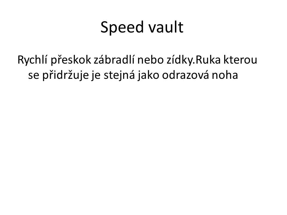Speed vault Rychlí přeskok zábradlí nebo zídky.Ruka kterou se přidržuje je stejná jako odrazová noha