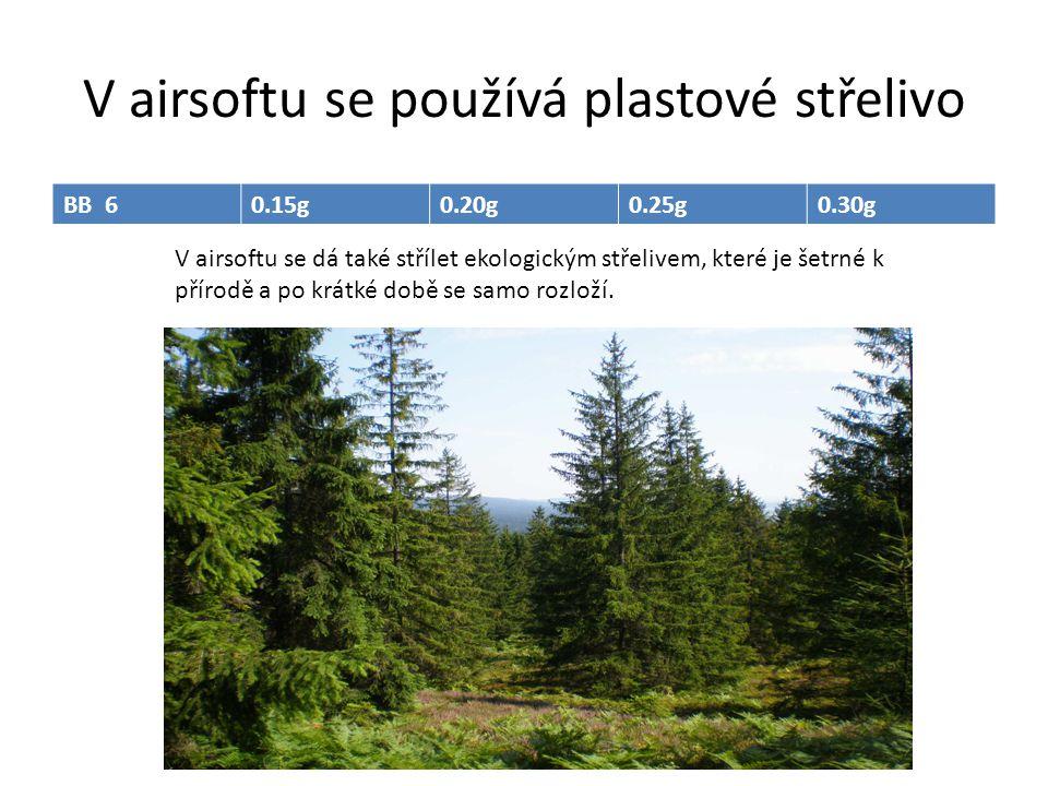 V airsoftu se používá plastové střelivo V airsoftu se dá také střílet ekologickým střelivem, které je šetrné k přírodě a po krátké době se samo rozlož