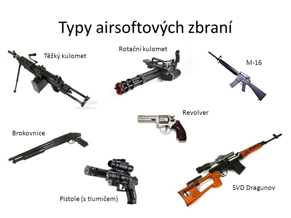 Typy airsoftových zbraní M-16 SVD Dragunov Revolver Brokovnice Těžký kulomet Rotační kulomet Pistole (s tlumičem)