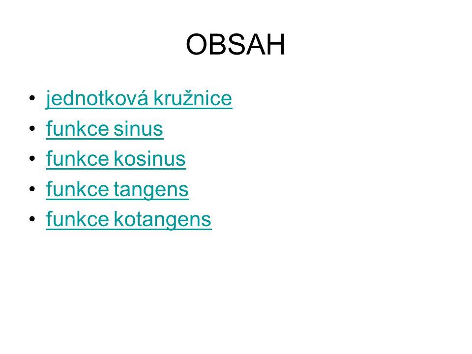 OBSAH jednotková kružnice funkce sinus funkce kosinus funkce tangens funkce kotangens