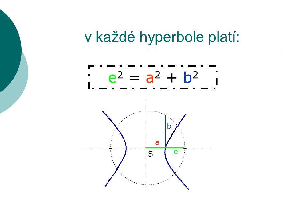 v každé hyperbole platí: e 2 = a 2 + b 2 S a b e