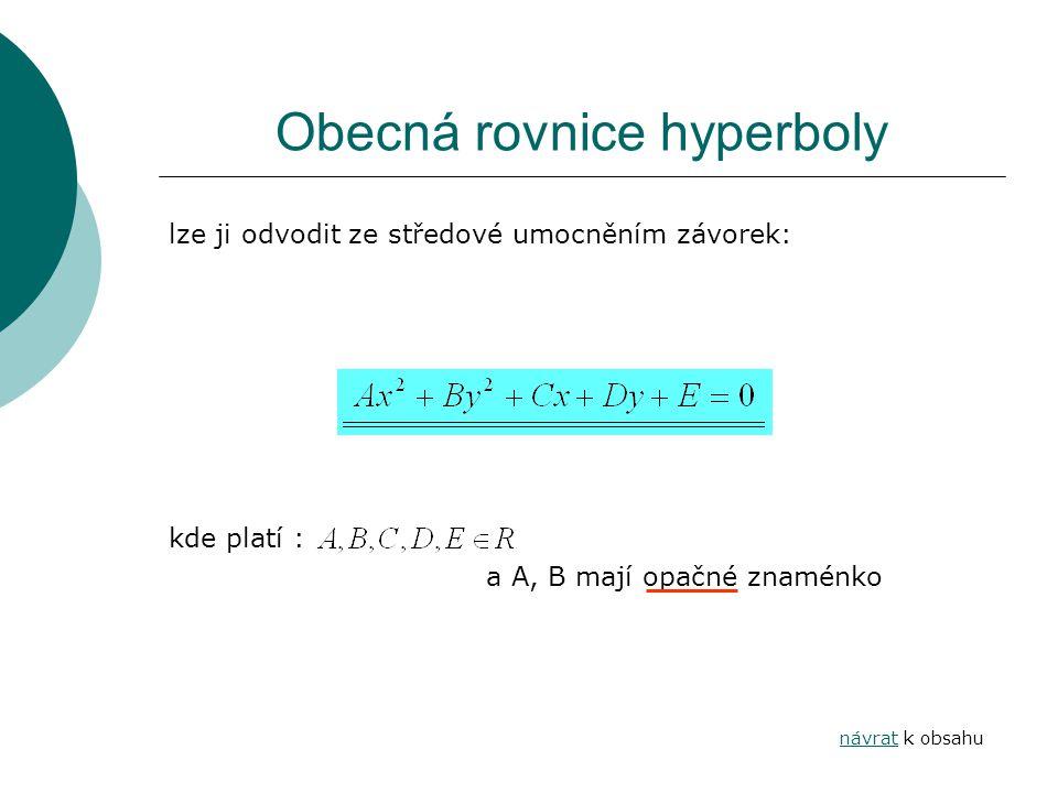 Obecná rovnice hyperboly lze ji odvodit ze středové umocněním závorek: kde platí : a A, B mají opačné znaménko návratnávrat k obsahu