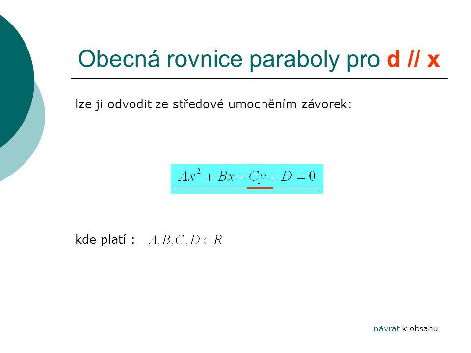 Obecná rovnice paraboly pro d // x lze ji odvodit ze středové umocněním závorek: kde platí : návratnávrat k obsahu