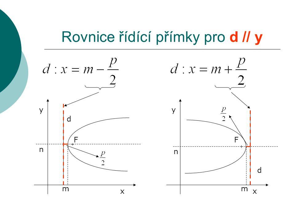 F d x y m n F d x y m n Rovnice řídící přímky pro d // y