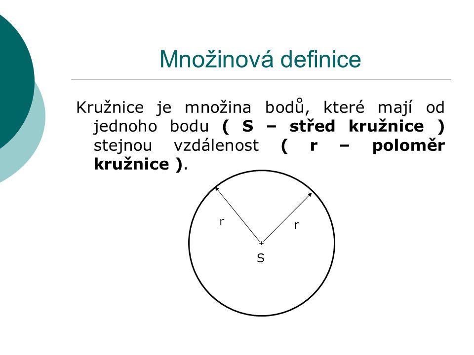 Množinová definice Kružnice je množina bodů, které mají od jednoho bodu ( S – střed kružnice ) stejnou vzdálenost ( r – poloměr kružnice ).).