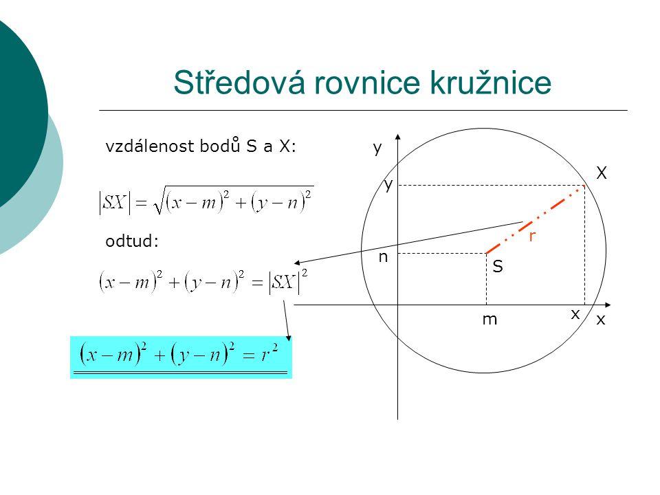 Středová rovnice kružnice vzdálenost bodů S a X: odtud: S X x y r m n x y