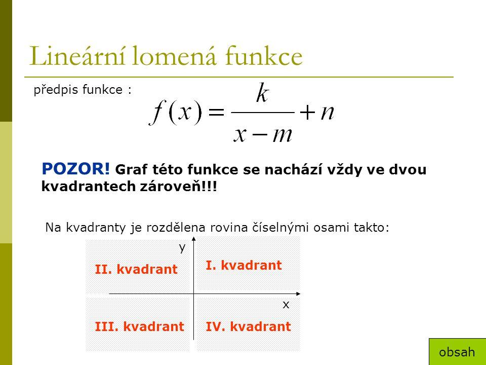 Lineární lomená funkce předpis funkce : POZOR! Graf této funkce se nachází vždy ve dvou kvadrantech zároveň!!! Na kvadranty je rozdělena rovina číseln