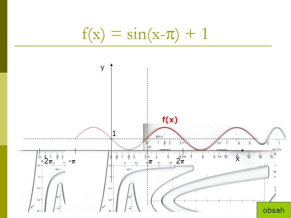 f(x) = sin(x-  ) + 1 x y 1 22-2-- f(x) obsah