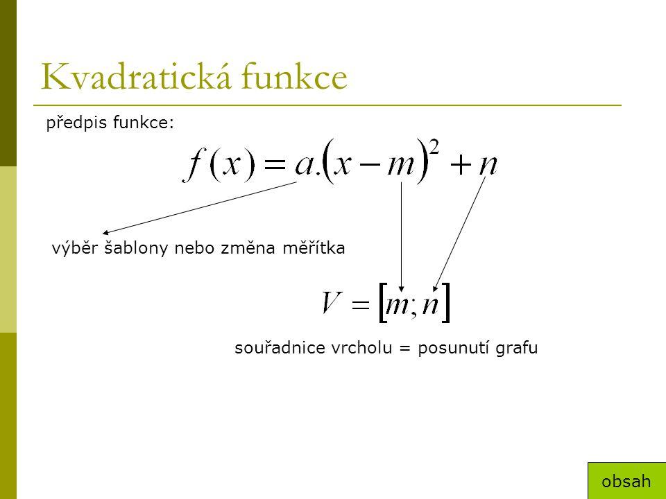 Kvadratická funkce předpis funkce: výběr šablony nebo změna měřítka souřadnice vrcholu = posunutí grafu obsah