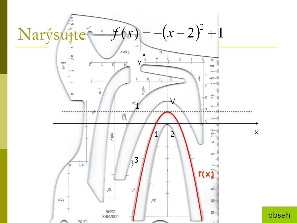 Narýsujte 1 1 2 x y V f(x) -3 obsah
