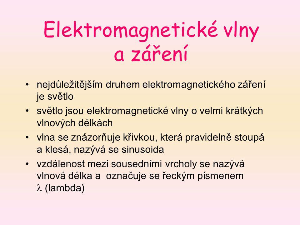 Elektromagnetické vlny a záření nejdůležitějším druhem elektromagnetického záření je světlo světlo jsou elektromagnetické vlny o velmi krátkých vlnový