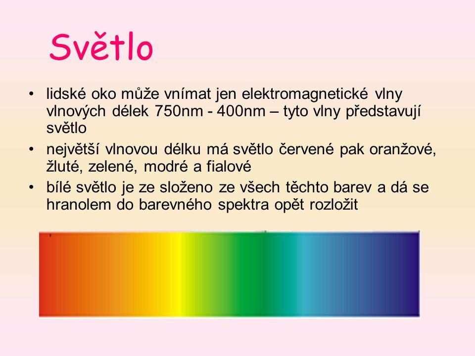 Světlo lidské oko může vnímat jen elektromagnetické vlny vlnových délek 750nm - 400nm – tyto vlny představují světlo největší vlnovou délku má světlo