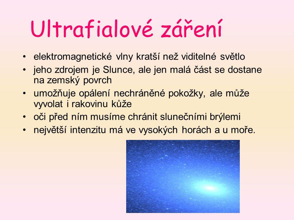 Ultrafialové záření elektromagnetické vlny kratší než viditelné světlo jeho zdrojem je Slunce, ale jen malá část se dostane na zemský povrch umožňuje