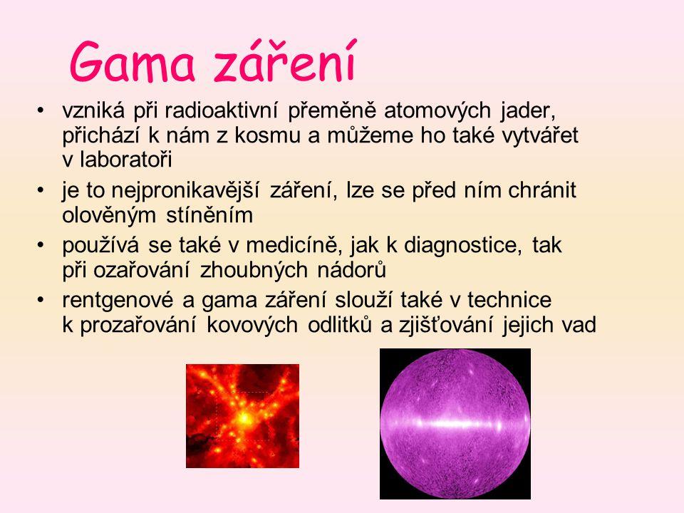 Gama záření vzniká při radioaktivní přeměně atomových jader, přichází k nám z kosmu a můžeme ho také vytvářet v laboratoři je to nejpronikavější zářen