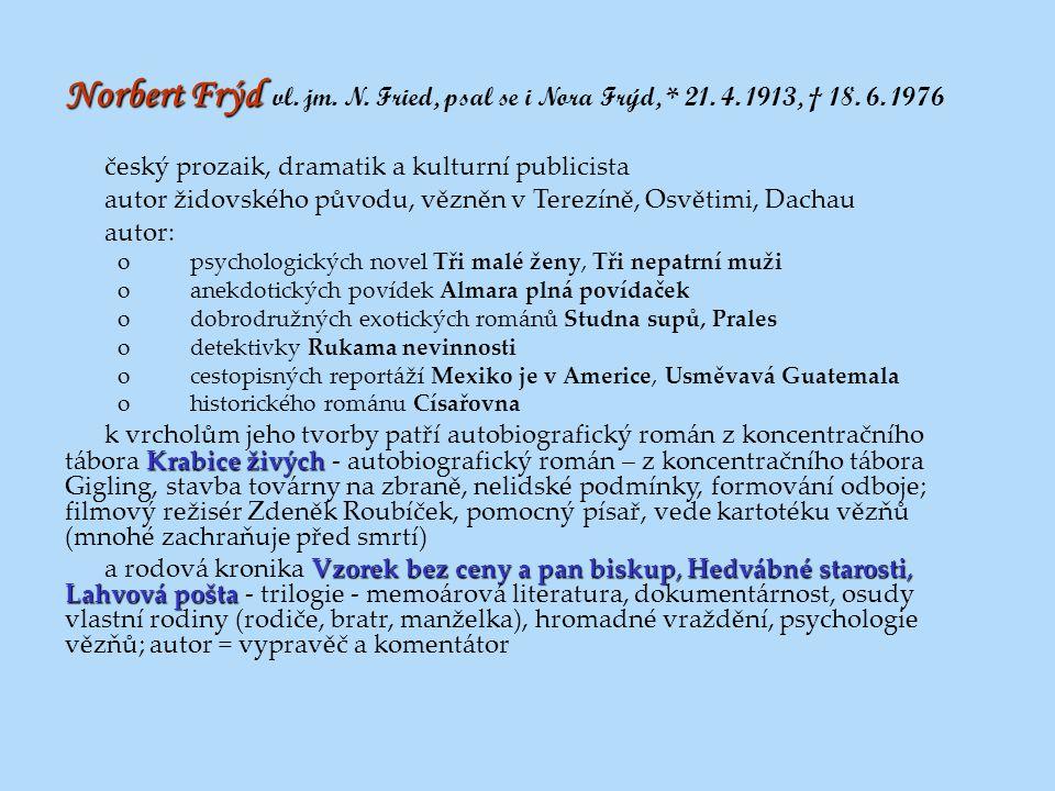 Norbert Frýd Norbert Frýd vl. jm. N. Fried, psal se i Nora Frýd, * 21. 4. 1913, † 18. 6. 1976 český prozaik, dramatik a kulturní publicista autor žido
