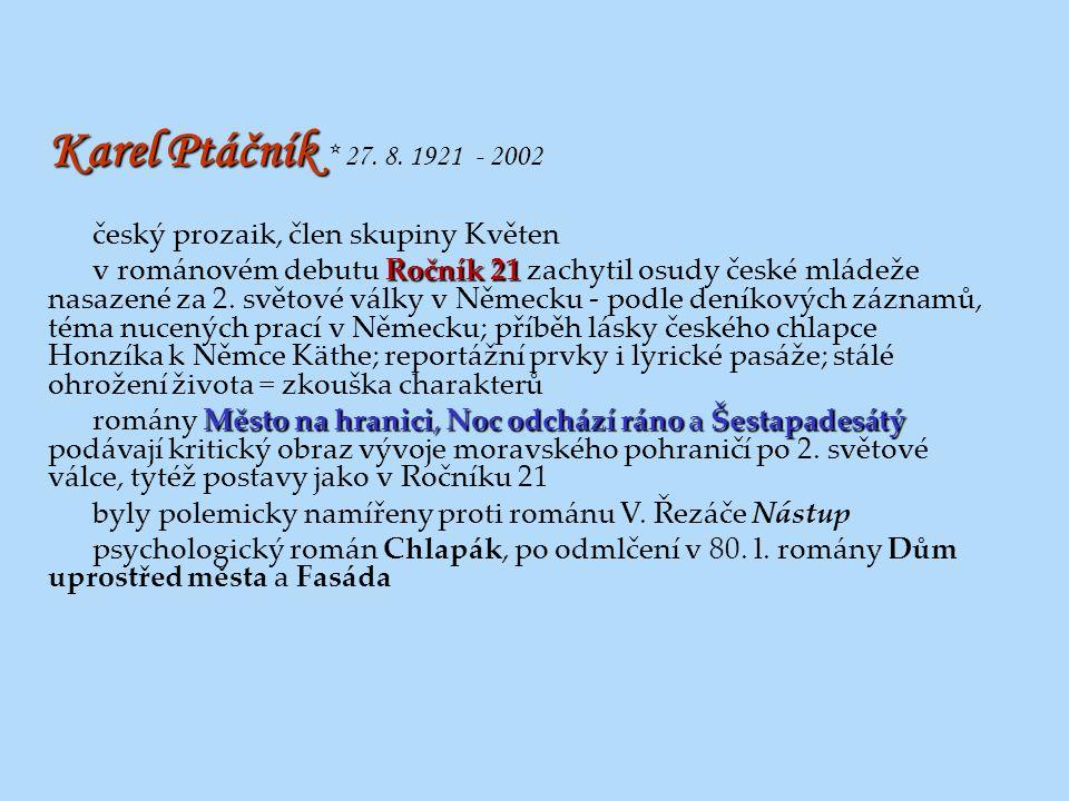 Karel Ptáčník Karel Ptáčník * 27. 8. 1921 - 2002 český prozaik, člen skupiny Květen Ročník 21 v románovém debutu Ročník 21 zachytil osudy české mládež