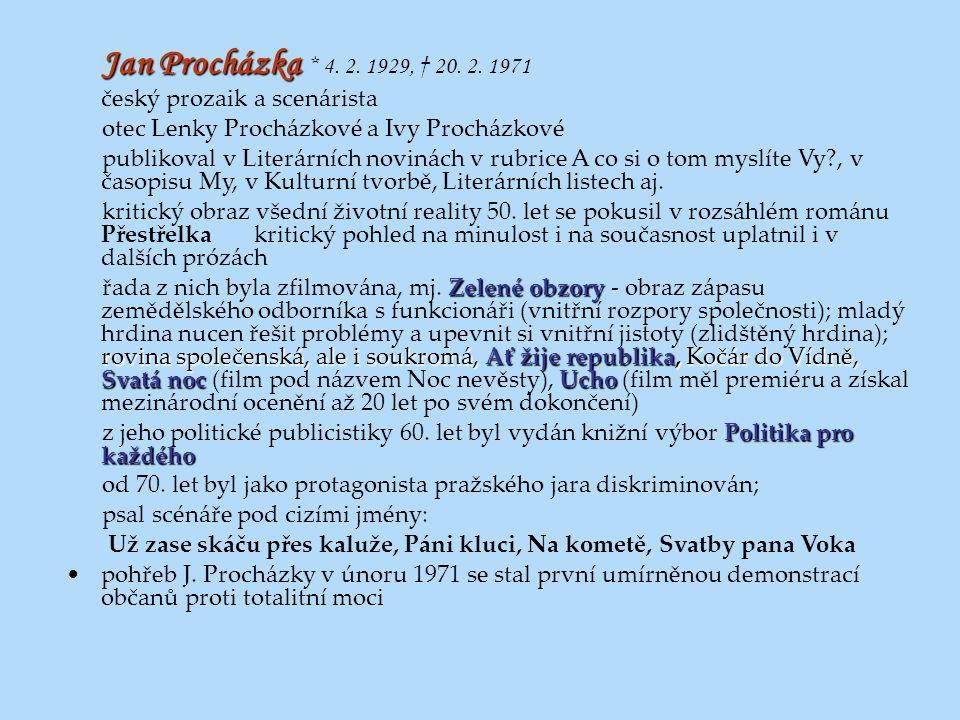 Jan Procházka Jan Procházka * 4. 2. 1929, † 20. 2. 1971 český prozaik a scenárista otec Lenky Procházkové a Ivy Procházkové publikoval v Literárních n