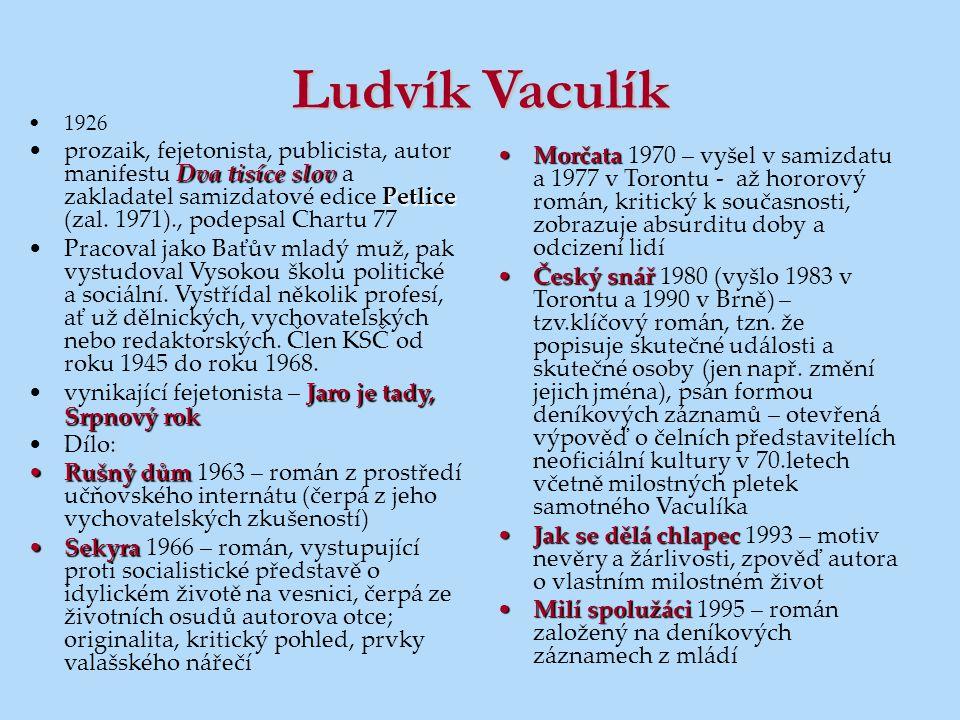 Ludvík Vaculík 1926 Dva tisíce slov Petliceprozaik, fejetonista, publicista, autor manifestu Dva tisíce slov a zakladatel samizdatové edice Petlice (z