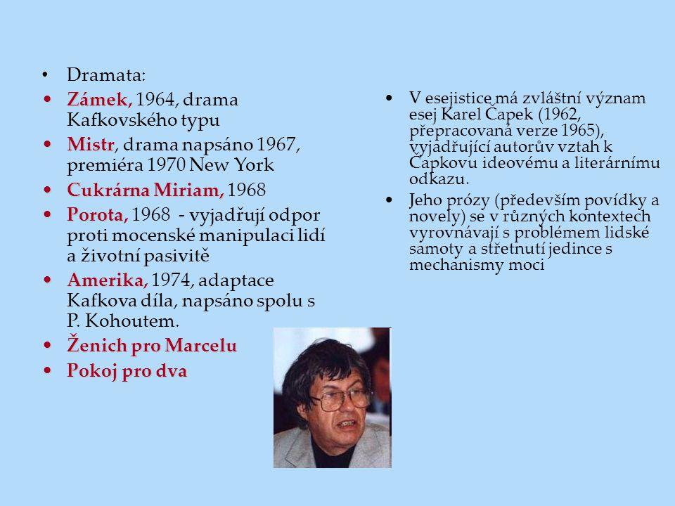 Dramata: ZámekZámek, 1964, drama Kafkovského typu MistrMistr, drama napsáno 1967, premiéra 1970 New York Cukrárna Miriam,Cukrárna Miriam, 1968 PorotaP