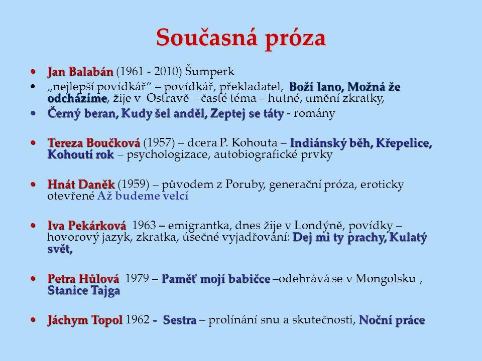 """Současná próza Jan BalabánJan Balabán (1961 - 2010) Šumperk Boží lano, Možná že odcházíme""""nejlepší povídkář"""" – povídkář, překladatel, Boží lano, Možná"""