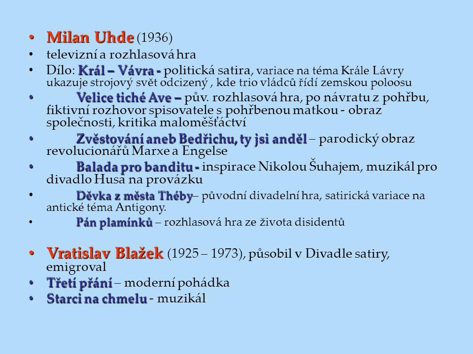 Milan Uhde Milan Uhde (1936) televizní a rozhlasová hra Král – Vávra - Dílo: Král – Vávra - politická satira, variace na téma Krále Lávry ukazuje stro