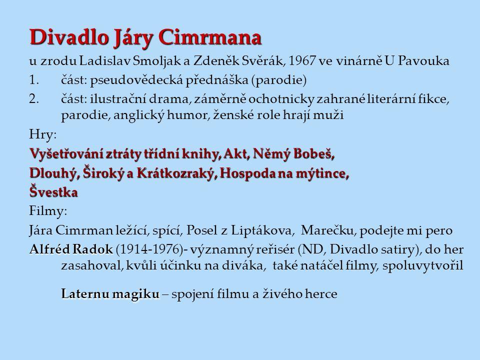 Divadlo Járy Cimrmana u zrodu Ladislav Smoljak a Zdeněk Svěrák, 1967 ve vinárně U Pavouka 1.část: pseudovědecká přednáška (parodie) 2.část: ilustrační