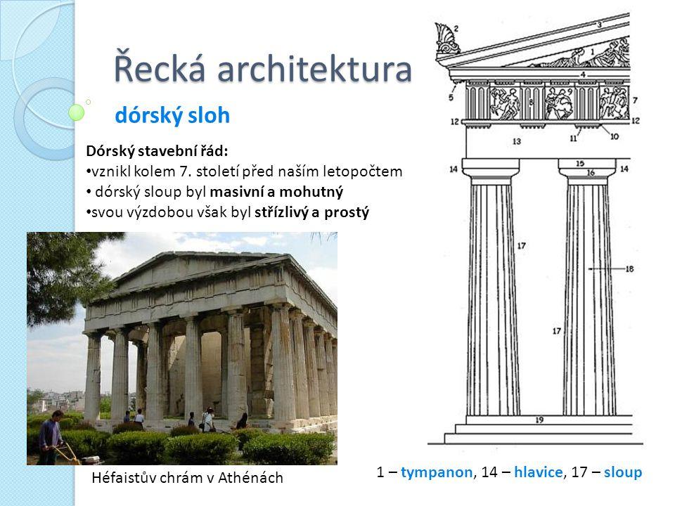 Řecká architektura dórský sloh Héfaistův chrám v Athénách Dórský stavební řád: vznikl kolem 7. století před naším letopočtem dórský sloup byl masivní