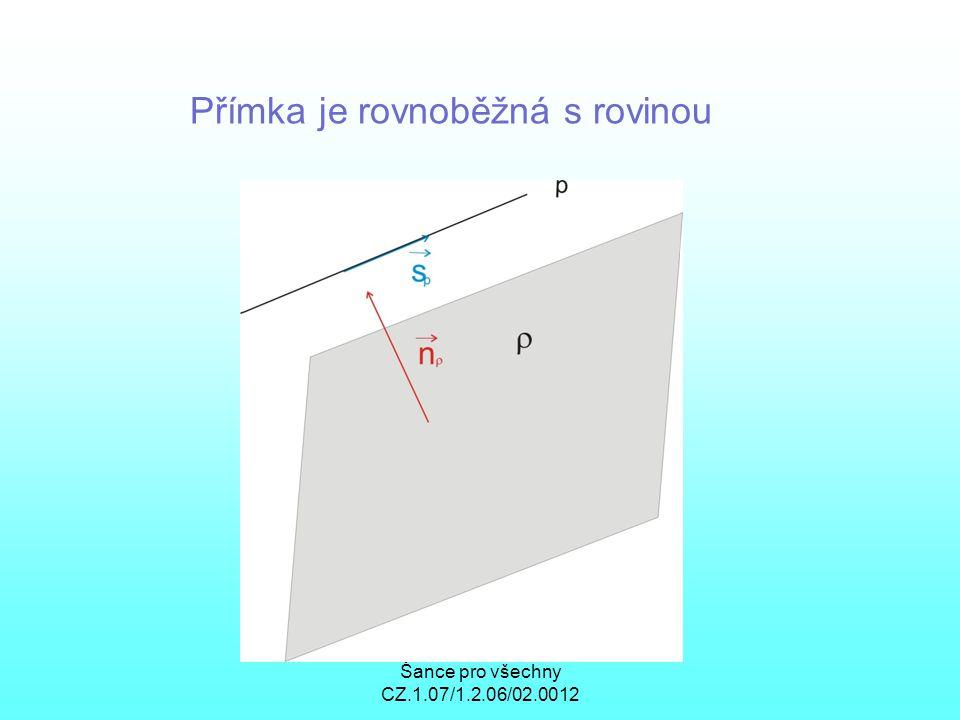 Šance pro všechny CZ.1.07/1.2.06/02.0012 Přímka je rovnoběžná s rovinou