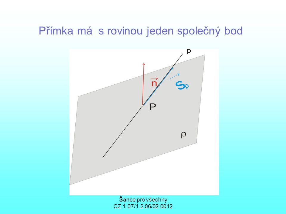 Šance pro všechny CZ.1.07/1.2.06/02.0012 Přímka má s rovinou jeden společný bod