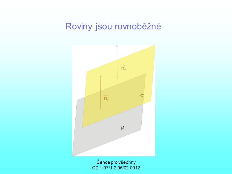 Šance pro všechny CZ.1.07/1.2.06/02.0012 Roviny jsou rovnoběžné