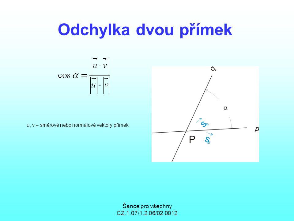 Šance pro všechny CZ.1.07/1.2.06/02.0012 Odchylka dvou přímek u, v – směrové nebo normálové vektory přímek