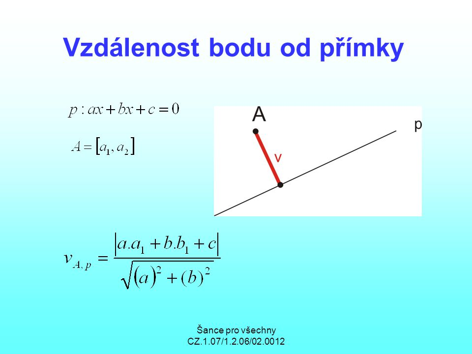 Šance pro všechny CZ.1.07/1.2.06/02.0012 Vzdálenost bodu od přímky