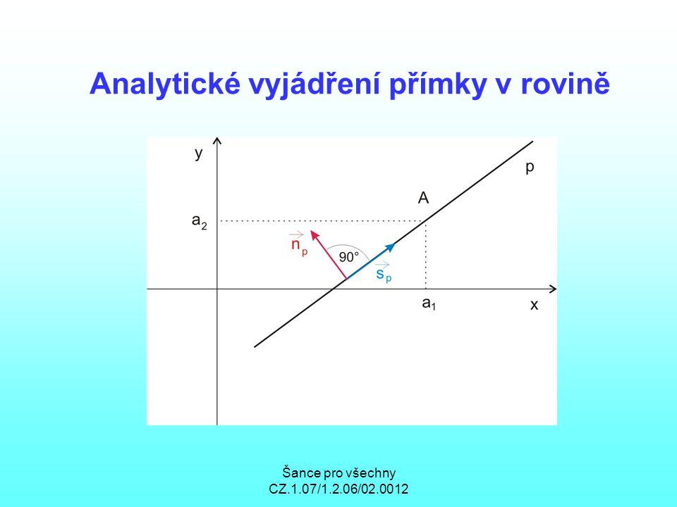 Šance pro všechny CZ.1.07/1.2.06/02.0012 Analytické vyjádření přímky v rovině