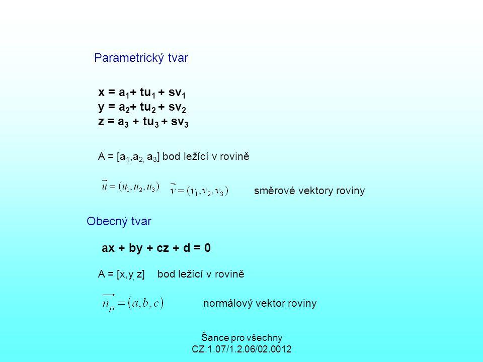 Šance pro všechny CZ.1.07/1.2.06/02.0012 Parametrický tvar x = a 1 + tu 1 + sv 1 y = a 2 + tu 2 + sv 2 z = a 3 + tu 3 + sv 3 A = [a 1,a 2, a 3 ] bod ležící v rovině směrové vektory roviny Obecný tvar ax + by + cz + d = 0 A = [x,y, z] bod ležící v rovině normálový vektor roviny