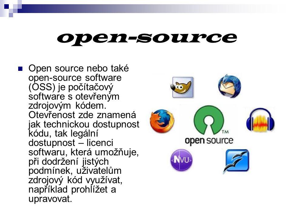 open-source Open source nebo také open-source software (OSS) je počítačový software s otevřeným zdrojovým kódem. Otevřenost zde znamená jak technickou