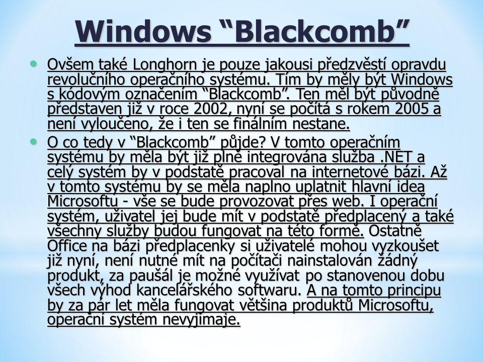 """Windows """"Blackcomb"""" Ovšem také Longhorn je pouze jakousi předzvěstí opravdu revolučního operačního systému. Tím by měly být Windows s kódovým označení"""
