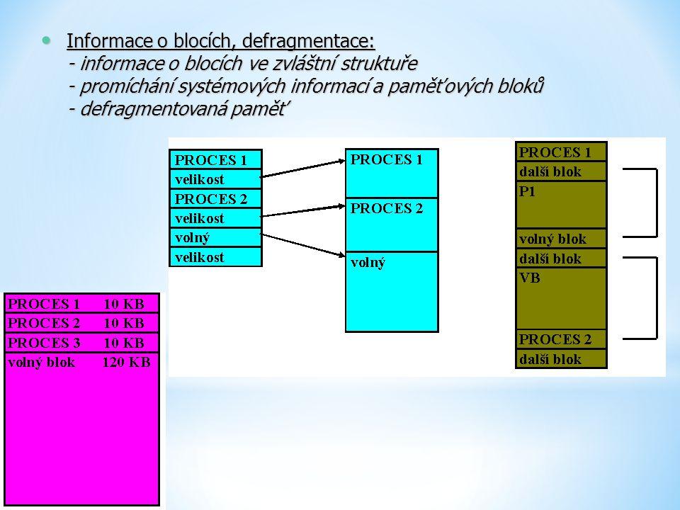 Informace o blocích, defragmentace: - informace o blocích ve zvláštní struktuře - promíchání systémových informací a paměťových bloků - defragmentovan