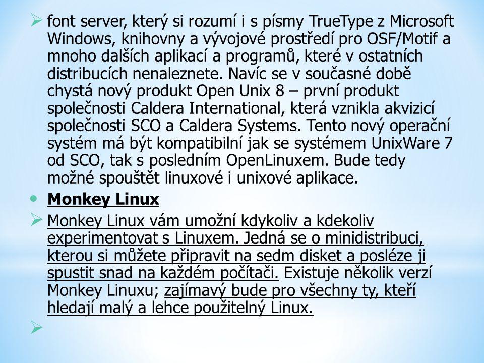  font server, který si rozumí i s písmy TrueType z Microsoft Windows, knihovny a vývojové prostředí pro OSF/Motif a mnoho dalších aplikací a programů