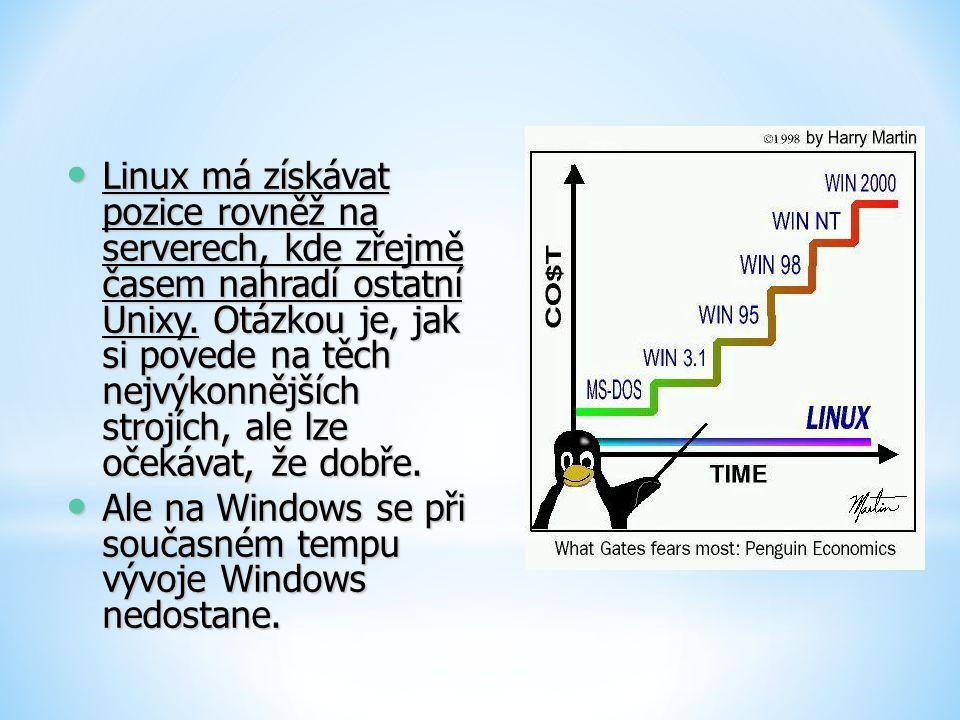 Linux má získávat pozice rovněž na serverech, kde zřejmě časem nahradí ostatní Unixy. Otázkou je, jak si povede na těch nejvýkonnějších strojích, ale