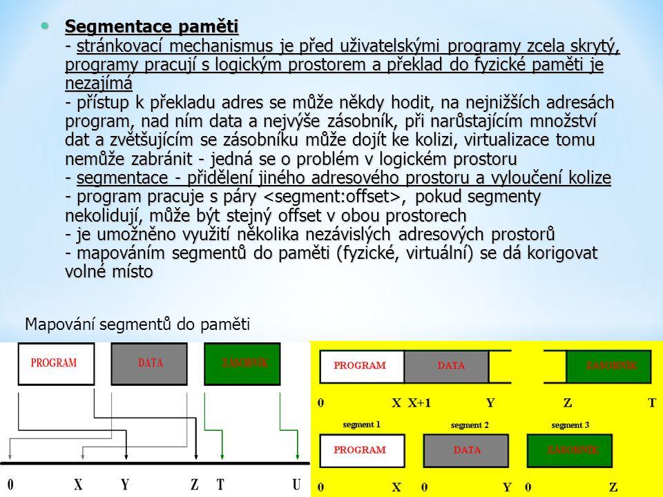 Segmentace paměti - stránkovací mechanismus je před uživatelskými programy zcela skrytý, programy pracují s logickým prostorem a překlad do fyzické pa