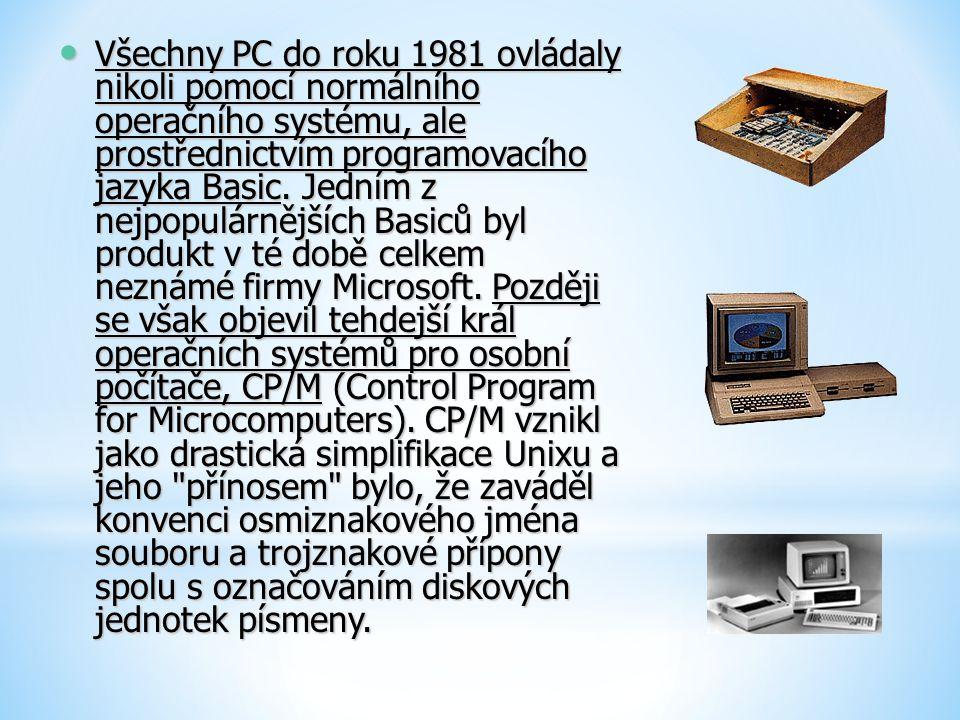 Všechny PC do roku 1981 ovládaly nikoli pomocí normálního operačního systému, ale prostřednictvím programovacího jazyka Basic. Jedním z nejpopulárnějš