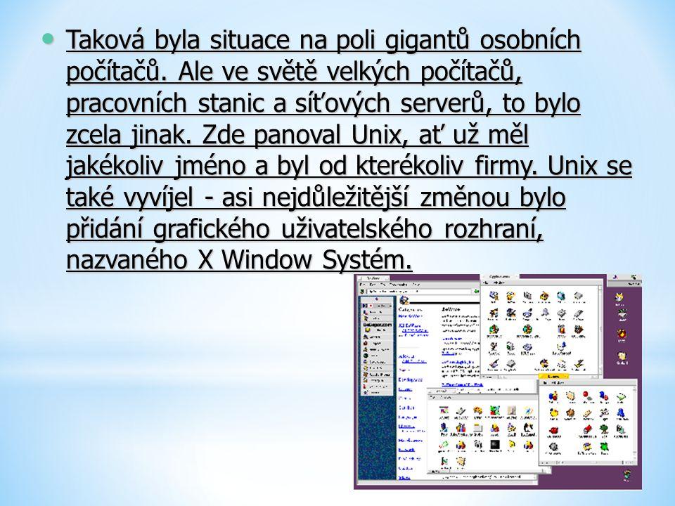 Taková byla situace na poli gigantů osobních počítačů. Ale ve světě velkých počítačů, pracovních stanic a síťových serverů, to bylo zcela jinak. Zde p